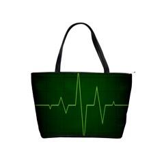 Heart Rate Green Line Light Healty Shoulder Handbags by Mariart