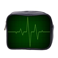 Heart Rate Green Line Light Healty Mini Toiletries Bag 2 Side by Mariart