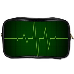 Heart Rate Green Line Light Healty Toiletries Bags 2 Side by Mariart