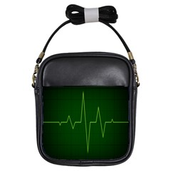 Heart Rate Green Line Light Healty Girls Sling Bags by Mariart