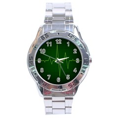 Heart Rate Green Line Light Healty Stainless Steel Analogue Watch by Mariart