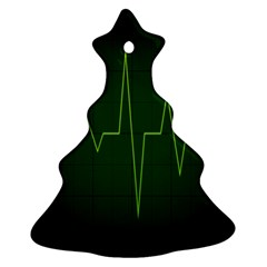 Heart Rate Green Line Light Healty Christmas Tree Ornament (two Sides) by Mariart