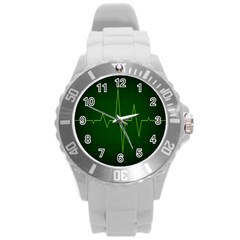 Heart Rate Green Line Light Healty Round Plastic Sport Watch (l) by Mariart
