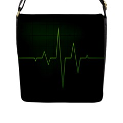 Heart Rate Green Line Light Healty Flap Messenger Bag (l)  by Mariart