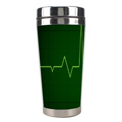 Heart Rate Green Line Light Healty Stainless Steel Travel Tumblers by Mariart