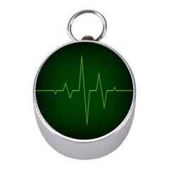 Heart Rate Green Line Light Healty Mini Silver Compasses by Mariart