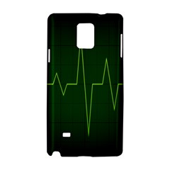 Heart Rate Green Line Light Healty Samsung Galaxy Note 4 Hardshell Case by Mariart