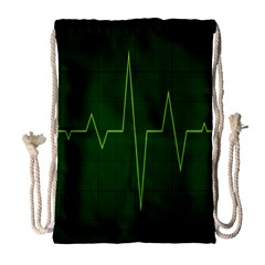 Heart Rate Green Line Light Healty Drawstring Bag (large) by Mariart