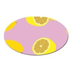 Fruit Lemons Orange Purple Oval Magnet by Mariart