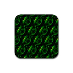 Green Eye Line Triangle Poljka Rubber Square Coaster (4 Pack)  by Mariart