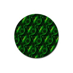 Green Eye Line Triangle Poljka Magnet 3  (round) by Mariart