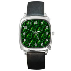 Green Eye Line Triangle Poljka Square Metal Watch by Mariart
