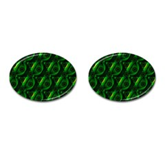 Green Eye Line Triangle Poljka Cufflinks (oval) by Mariart