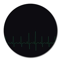 Heart Rate Line Green Black Wave Chevron Waves Round Mousepads by Mariart