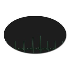 Heart Rate Line Green Black Wave Chevron Waves Oval Magnet by Mariart