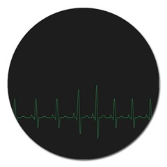 Heart Rate Line Green Black Wave Chevron Waves Magnet 5  (round) by Mariart