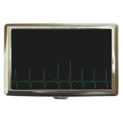 Heart Rate Line Green Black Wave Chevron Waves Cigarette Money Cases by Mariart
