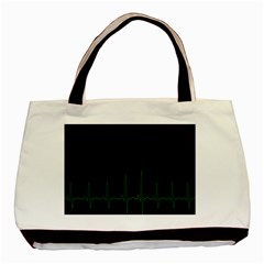 Heart Rate Line Green Black Wave Chevron Waves Basic Tote Bag (two Sides) by Mariart