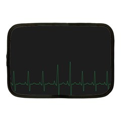 Heart Rate Line Green Black Wave Chevron Waves Netbook Case (medium)  by Mariart