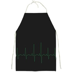 Heart Rate Line Green Black Wave Chevron Waves Full Print Aprons by Mariart