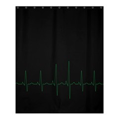 Heart Rate Line Green Black Wave Chevron Waves Shower Curtain 60  X 72  (medium)  by Mariart