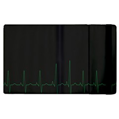 Heart Rate Line Green Black Wave Chevron Waves Apple Ipad 3/4 Flip Case by Mariart