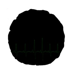 Heart Rate Line Green Black Wave Chevron Waves Standard 15  Premium Round Cushions by Mariart