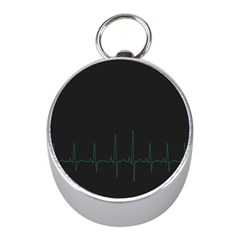 Heart Rate Line Green Black Wave Chevron Waves Mini Silver Compasses by Mariart