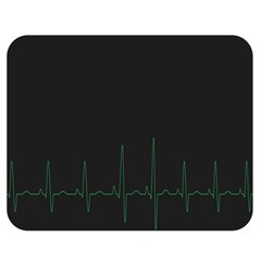 Heart Rate Line Green Black Wave Chevron Waves Double Sided Flano Blanket (medium)  by Mariart