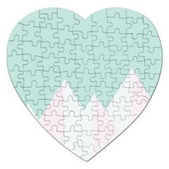 Montain Blue Snow Chevron Wave Pink Jigsaw Puzzle (heart) by Mariart