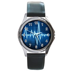 Heart Monitoring Rate Line Waves Wave Chevron Blue Round Metal Watch by Mariart