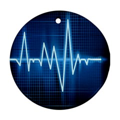 Heart Monitoring Rate Line Waves Wave Chevron Blue Ornament (round) by Mariart