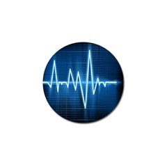 Heart Monitoring Rate Line Waves Wave Chevron Blue Golf Ball Marker (10 pack)
