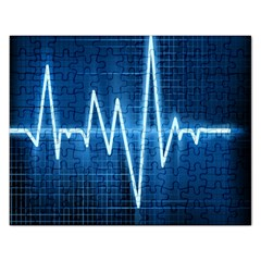 Heart Monitoring Rate Line Waves Wave Chevron Blue Rectangular Jigsaw Puzzl by Mariart