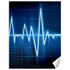 Heart Monitoring Rate Line Waves Wave Chevron Blue Canvas 12  X 16   by Mariart