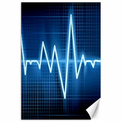Heart Monitoring Rate Line Waves Wave Chevron Blue Canvas 20  X 30   by Mariart