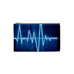 Heart Monitoring Rate Line Waves Wave Chevron Blue Cosmetic Bag (small)  by Mariart