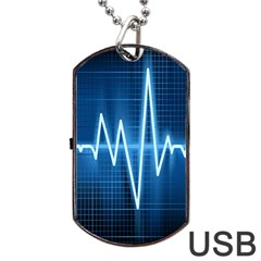 Heart Monitoring Rate Line Waves Wave Chevron Blue Dog Tag Usb Flash (one Side) by Mariart