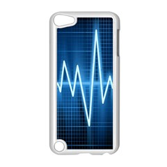 Heart Monitoring Rate Line Waves Wave Chevron Blue Apple Ipod Touch 5 Case (white) by Mariart