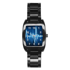 Heart Monitoring Rate Line Waves Wave Chevron Blue Stainless Steel Barrel Watch by Mariart