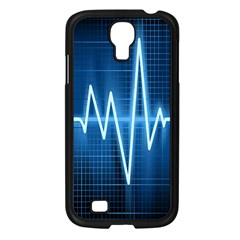 Heart Monitoring Rate Line Waves Wave Chevron Blue Samsung Galaxy S4 I9500/ I9505 Case (black) by Mariart