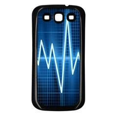 Heart Monitoring Rate Line Waves Wave Chevron Blue Samsung Galaxy S3 Back Case (black) by Mariart