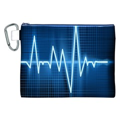Heart Monitoring Rate Line Waves Wave Chevron Blue Canvas Cosmetic Bag (xxl) by Mariart