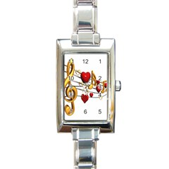 Music Notes Heart Beat Rectangle Italian Charm Watch by Mariart