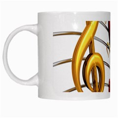 Music Notes Heart Beat White Mugs by Mariart