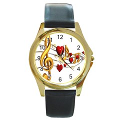 Music Notes Heart Beat Round Gold Metal Watch by Mariart