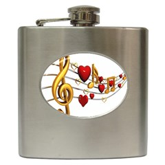 Music Notes Heart Beat Hip Flask (6 Oz) by Mariart