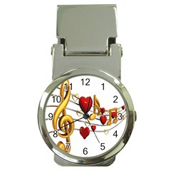 Music Notes Heart Beat Money Clip Watches by Mariart