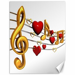 Music Notes Heart Beat Canvas 12  X 16   by Mariart