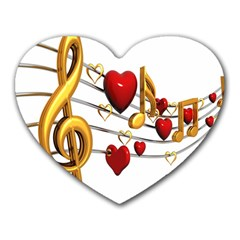 Music Notes Heart Beat Heart Mousepads by Mariart